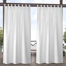 Exclusive Home Curtains Indoor/Outdoor Solid Cabana Tab Top Curtain Panel Pair, 54x96, Winter White