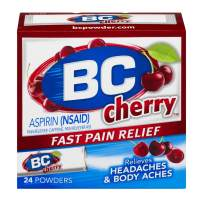 BC Powder | Fast Pain Relief | Aspirin (NSAID) & Caffeine | Cherry | 24 Count, Pack of 1