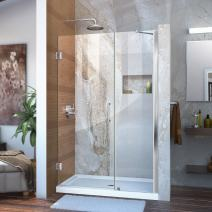 DreamLine Unidoor 41-42 in. W x 72 in. H Frameless Hinged Shower Door with Support Arm in Chrome, SHDR-20417210C-01