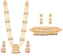 """Touchstone """"Mughal Jali Collection Faux Pearls/Ruby Bridal Wedding Rani haar Necklace and Choker in Gold Tone for Women"""
