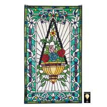 Stained Glass Panel - Le Fenetre des Fleurs (Window of Flowers) Stained Glass Window Hangings - Window Treatments