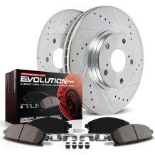 Power Stop K2008 Rear Z23 Carbon Fiber Brake Pads with Drilled & Slotted Brake Rotors Kit
