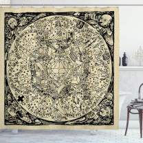 """Ambesonne Astrology Shower Curtain, Series of Mystic Esoteric Old Map with Man with Vintages, Cloth Fabric Bathroom Decor Set with Hooks, 70"""" Long, Ecru Black"""