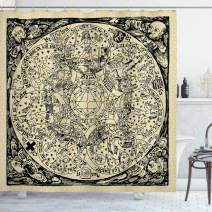 """Ambesonne Astrology Shower Curtain, Series of Mystic Esoteric Old Map with Man with Vintages, Cloth Fabric Bathroom Decor Set with Hooks, 84"""" Long Extra, Ecru Black"""