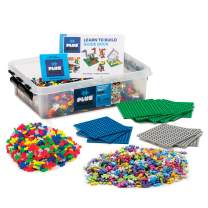 PLUS PLUS - Open Play Set - 3,600 Piece in Storage Tub - Basic, Neon and Pastel Mix with 12 Baseplates - Construction Building STEM   STEAM Toy, Interlocking Mini Puzzle Blocks for Kids
