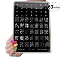 VAGA Nail Art Stamping Kit Jumbo Manicure Image Plate 7 Home Sweet Home/This Nail Stamping Plate has 63 Patterns to Match all your Nail Polish and Stamping Polish Colors, A Must Have Nail Kit
