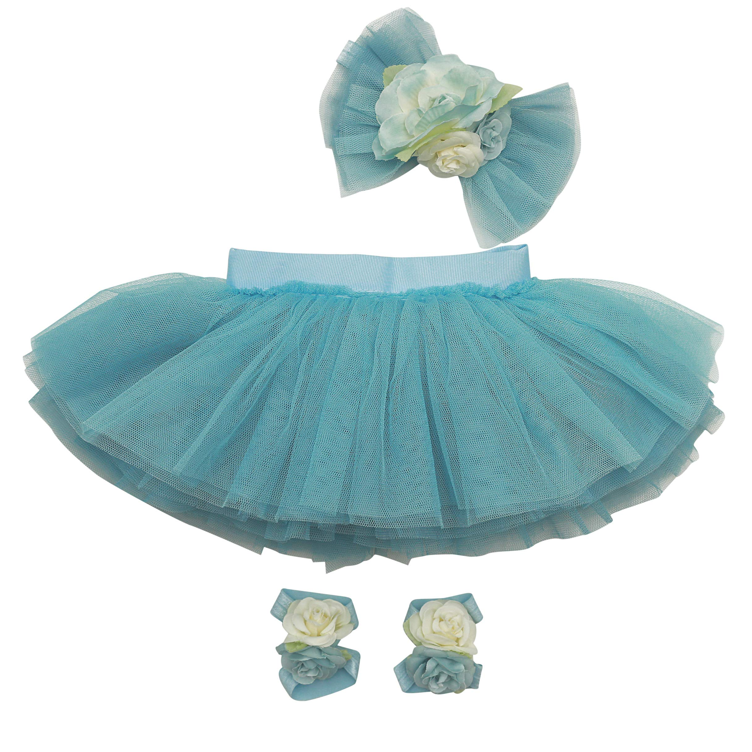 Newborn Girl Tutu Set Skirt with Headband Infant Outfit Dress Clothes Photography Prop - Easter Outfits for Baby Girls Blue