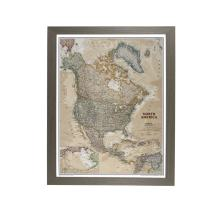 Push Pin Travel Maps Executive North America with Barnwood Gray Frame and Pins