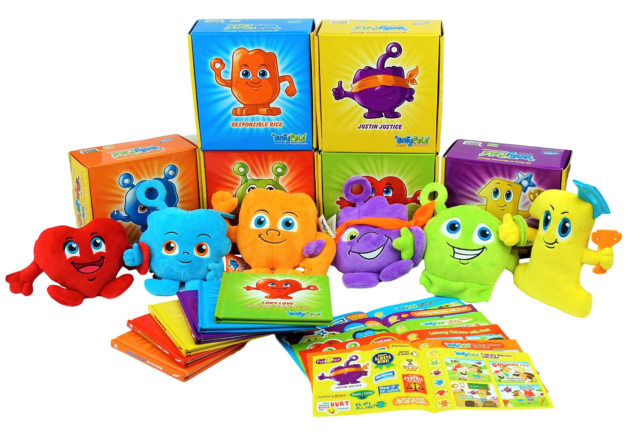 ENTYPALS Educational Plush & Learning Board Book (All 6 Set Collection) Great Gift Set for Kids or Children Boys or Girls. Kids Learning Toy. Toddler Activities and Kids Therapy Help. by Entyva