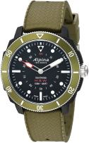 Alpina Men's Horological Smart Watch Stainless Steel Quartz Sport Rubber Strap, Green, 21.4 (Model: AL-282LBGR4V6)