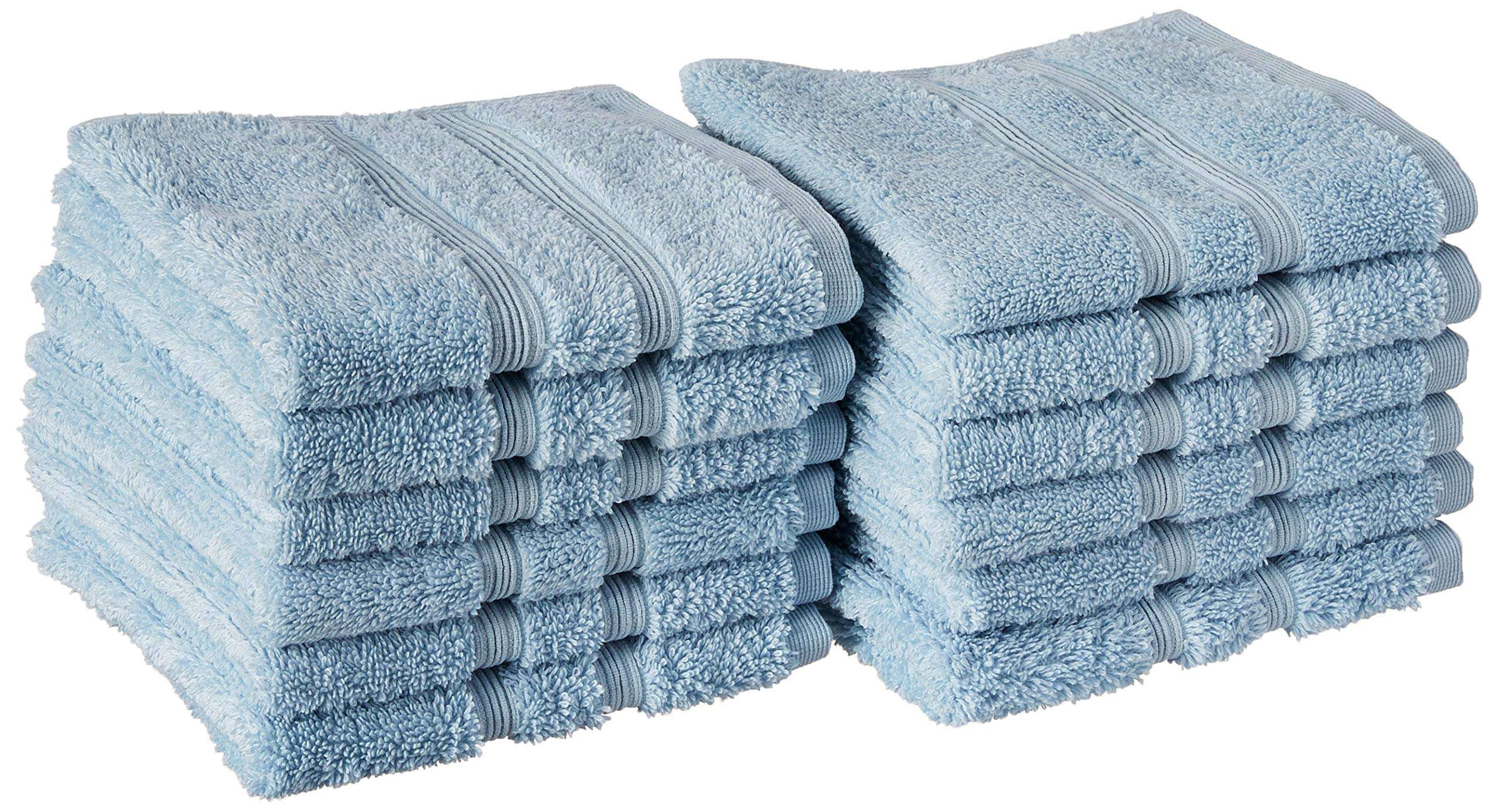 Manor Ridge Turkish Cotton 700 GSM Wash Cloth Set, Super Soft, Heavy Weight & Absorbent, 12-Pack, Blue 12 Count