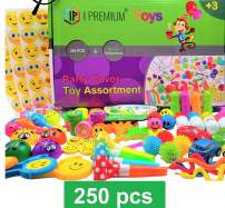 IP I Premium 250 Pcs Toy Assortment, Party Favors for Kids, Bulk Toys, Pinata Filler, Goodie Bag Fillers, Treasure Box, Prizes for Classroom, Christmas, Carnival and Birthday. Included 360 Pcs Sticker