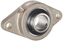 """Browning VF2S-220 NK Normal-Duty Flange Unit, 2 Bolt, Setscrew Lock, Regreasable, Contact and Flinger Seal, Nickel Plated, Inch, 1-1/4"""" Bore, 5-1/8"""" Bolt Hole Spacing Width, 6-1/8"""" Overall Width"""