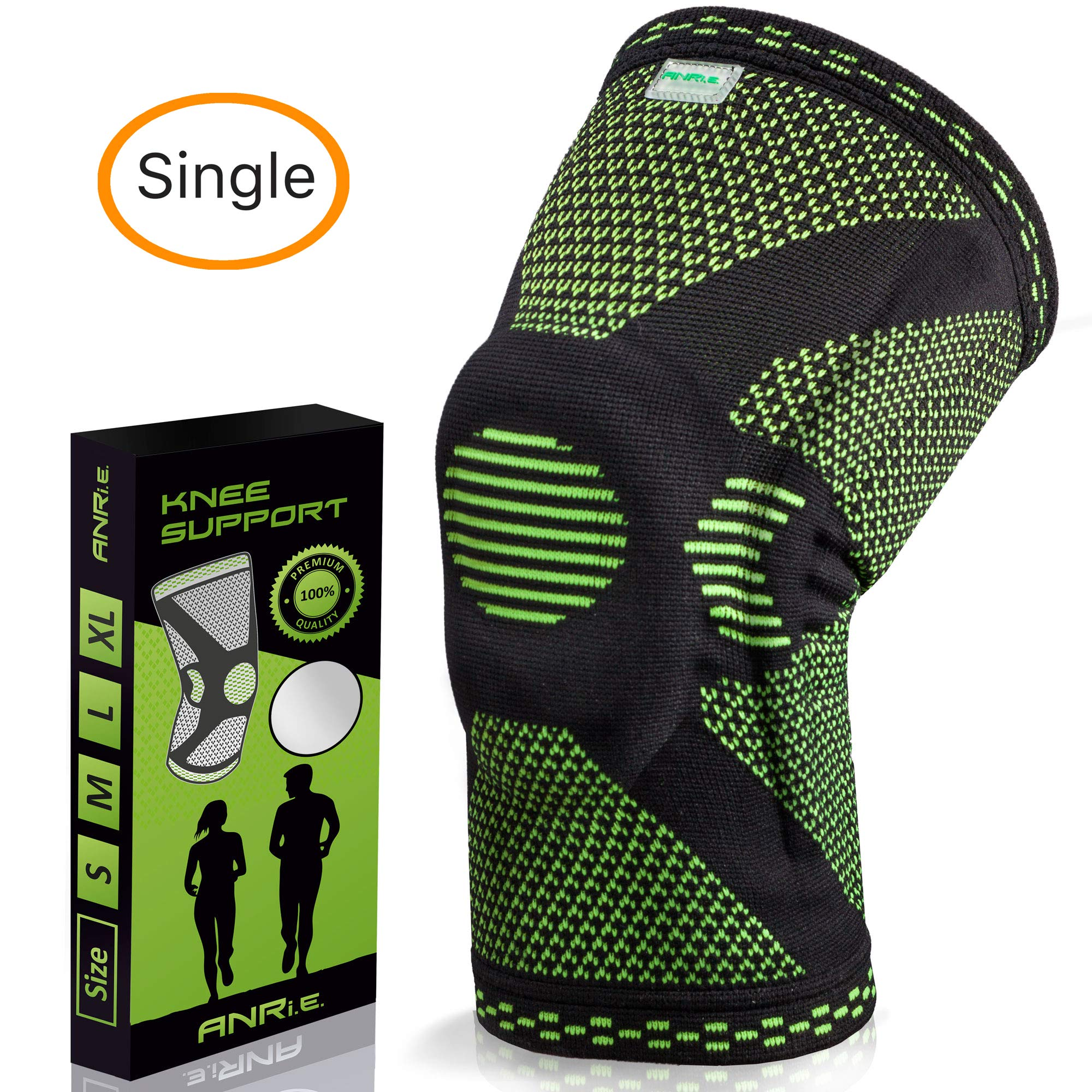 ANRI.E. Knee Brace with Silicone Pad and Elastic Metal Side Bars - Compression Sleeve for Running, Weightlifting, Powerlifting, Volleyball - Check The Size Chart - Size M, L, XL, XXL