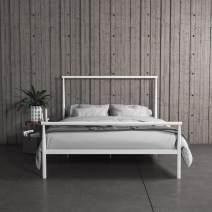 REALROOMS Calixa Modern Metal Platform Bed Frame, Industrial Minimalist Design with Headboard, Full, White