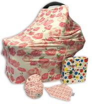 Styles II Nursing Cover Set - Car Seat Canopy, Shopping Cart, High Chair, Stroller & Carseat Cover for Boys & Girls - Multi Use Breastfeeding Cover - Includes Nursing Cover, Bib & Baby Hat Beanie Cap