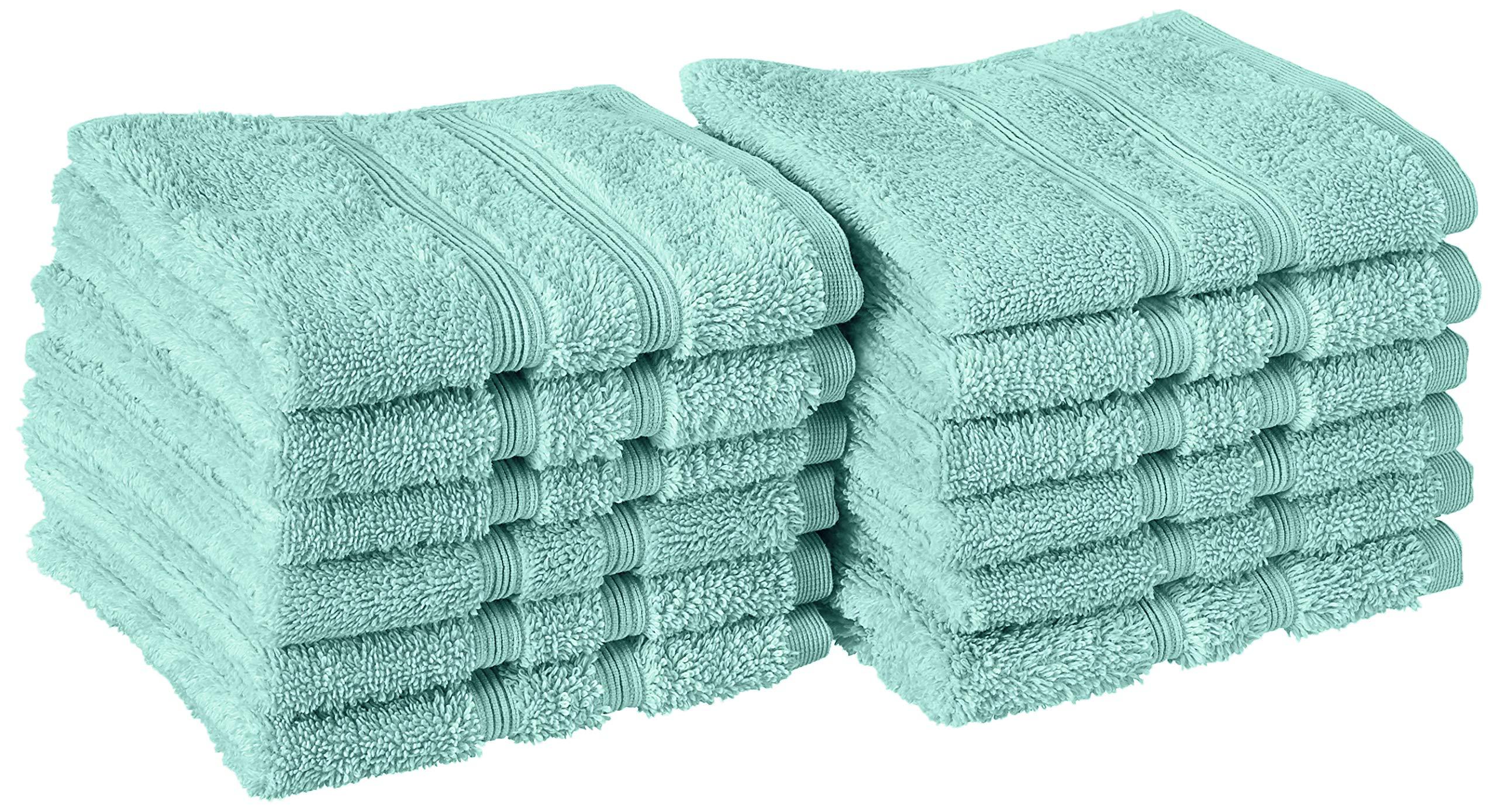 Manor Ridge Turkish Cotton 700 GSM Wash Cloth Set, Super Soft, Heavy Weight & Absorbent, 12-Pack, Aqua 12 Count