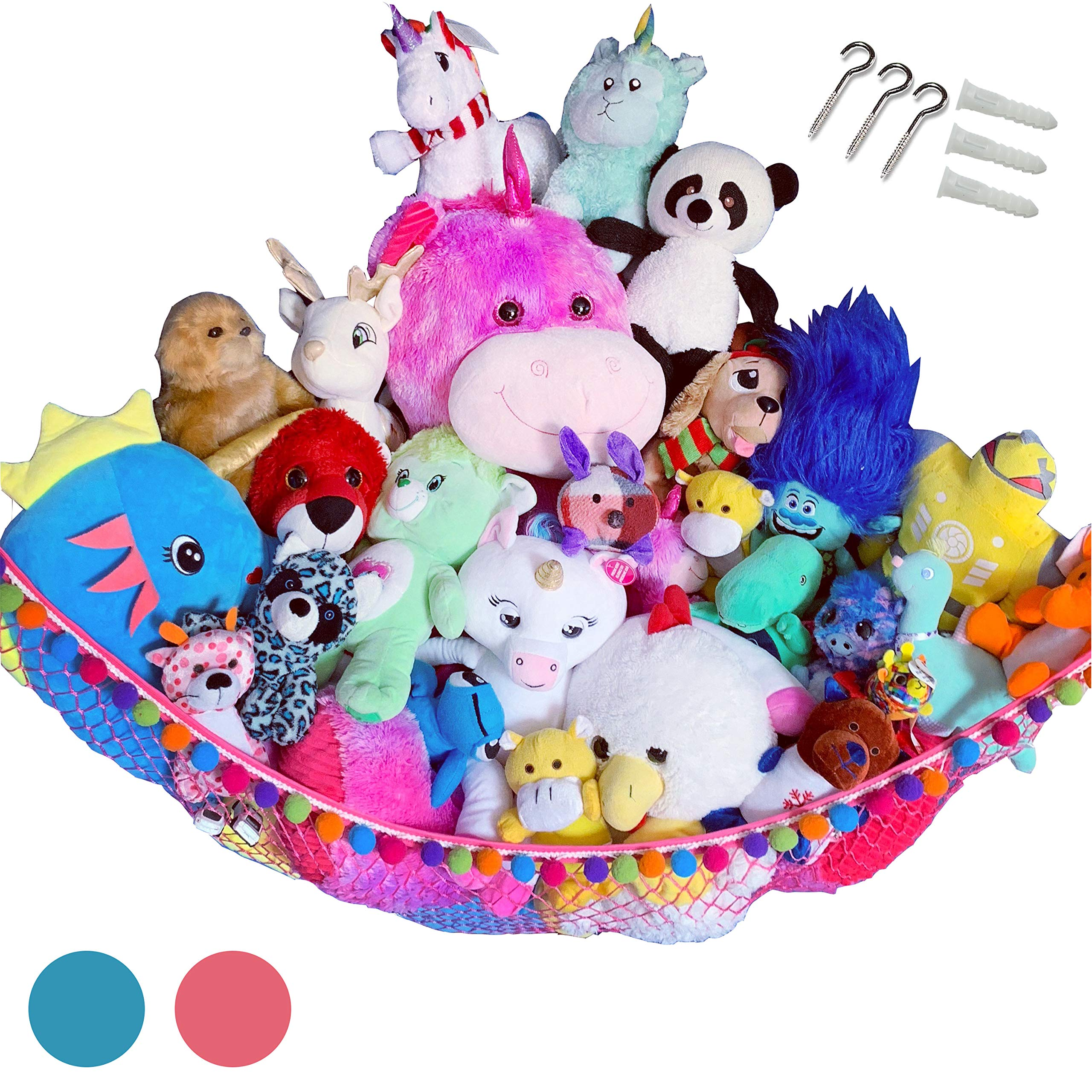 HOME4 Plush Animal Teddy Bear Hanging Storage Toys Hammock Net With Fun Poms Poms - Organize Small, Large, Giant Stuffed Toys Balls Great Gift for Boys, Girls Instead of Bins Chest - Pink