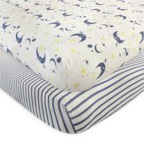 Touched by Nature Unisex Baby and Toddler Organic Cotton Crib Sheet, Moon, One Size