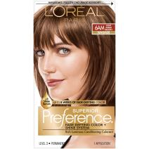 L'Oreal Paris Superior Preference Fade-Defying + Shine Permanent Hair Color, 6AM Light Amber Brown, 1 kit Hair Dye