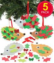 Baker Ross Christmas Holly Hedgehog Foam Decoration Kits — Creative Christmas Art and Craft Supplies for Kids to Make and Decorate (Pack of 5)