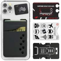 Gecko Travel Tech Double Pocket - Adhesive Card Holder - Cell Phone Pouch - Stick on Lycra Pocket - Carry Credit Cards and Cash - Gray - Dog PAW