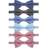 J JIMUKEE Boys Toddler Kids Baby Plaid Pre-tied Wedding Bow Tie With Adjustable Neck Strap Dog Cat Bowtie Pack of 6