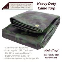 Heavy Duty Waterproof Camo Tarp - Reversible Camouflage/Green Tarp -16x20 with UV Protection for Outdoor Camping RV Truck and Trailers