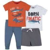 Gerber Baby Boys' 4-Piece Shirt, Bodysuit, Short and Pant