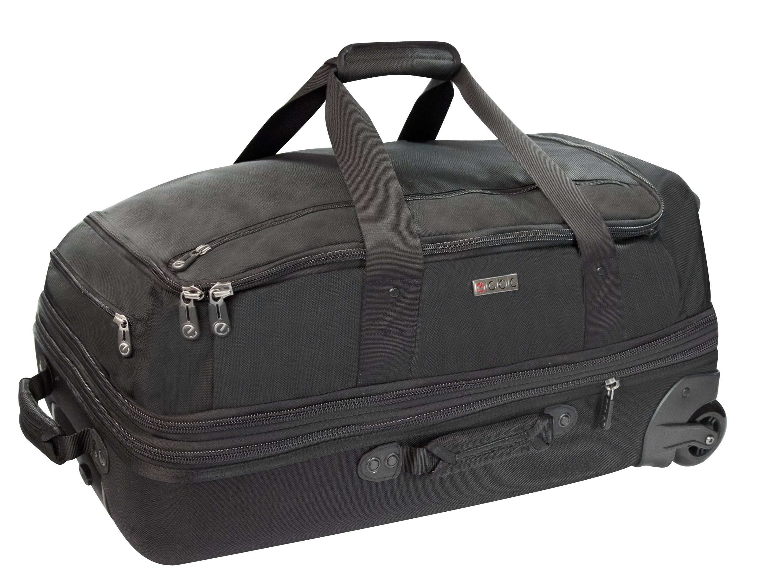 ECBC 26 Inch Falcon Rolling Duffle | Modern Business Travel Carry On & Weekender Bag (Black)