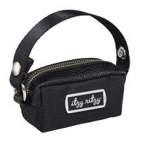 "Itzy Ritzy Pacifier Case with Adjustable Handle – Pacifier Pod Holds 2 Pacifiers and Can Be Worn as a Wristlet or Attached to a Diaper Bag or Purse; Measures 4.5"" L x 2.25"" W, Black Herringbone"
