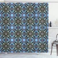 """Ambesonne Moroccan Shower Curtain, Bohemian Eastern Pattern with Interlacing Lines Historical Roman Influences, Cloth Fabric Bathroom Decor Set with Hooks, 70"""" Long, Blue Black"""