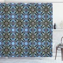"Ambesonne Moroccan Shower Curtain, Bohemian Eastern Pattern with Interlacing Lines Historical Roman Influences, Cloth Fabric Bathroom Decor Set with Hooks, 70"" Long, Blue Black"