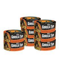 "Gorilla Black Duct Tape, 1.88"" x 12 yd, Black, (Pack of 8)"