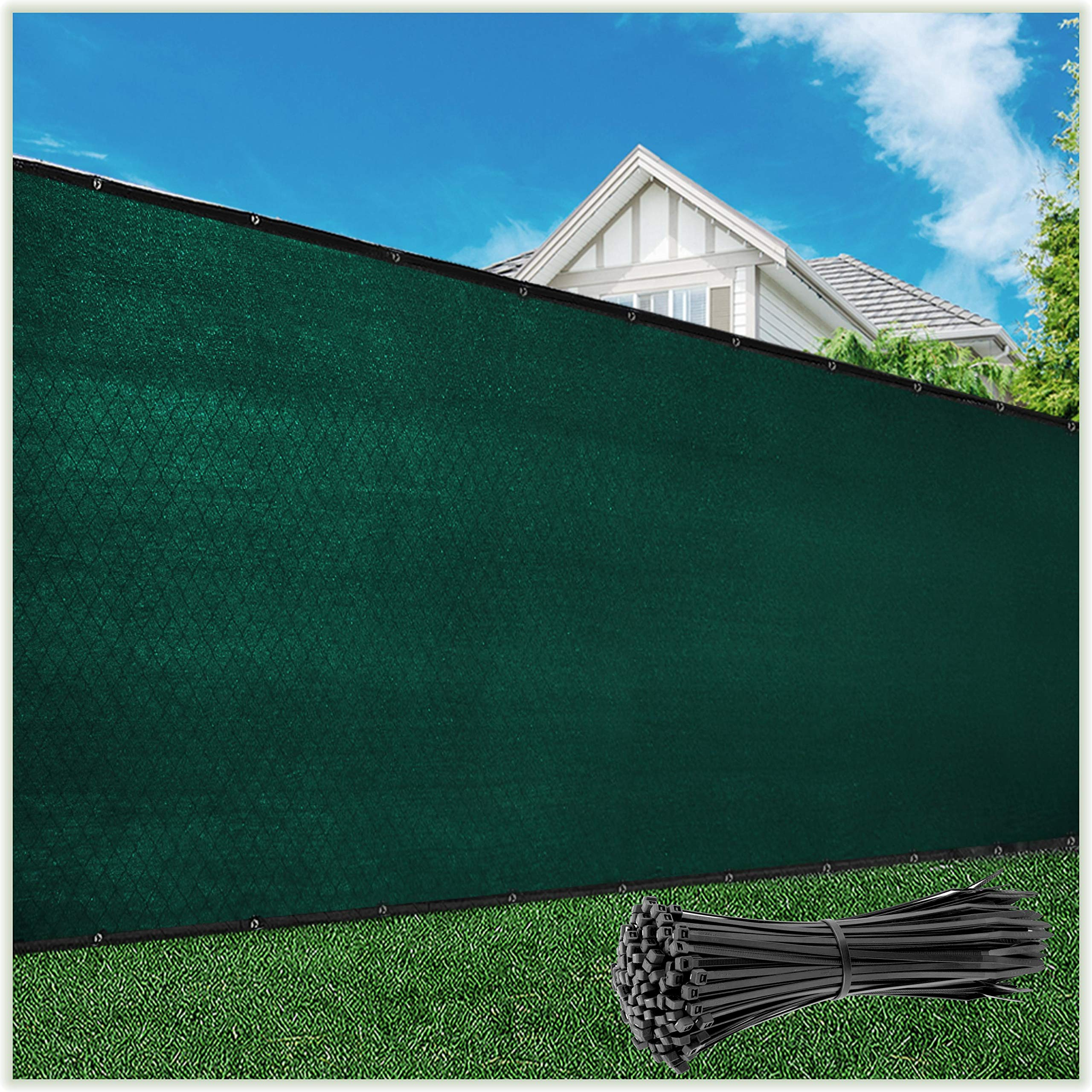 ColourTree Customized Size Fence Screen Privacy Screen Green 6' x 12' - Commercial Grade 170 GSM - Heavy Duty - 3 Years Warranty - Cable Zip Ties Included