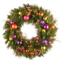 National Tree 30 Inch Kaleidoscope Wreath with 70 Battery Operated Soft White LED Lights (KS13-300L-30WB)