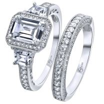 Luxurious Sterling Silver .925 Precious Metal VVS1 Clarity 2 CTW Emerald Cut Stone AAA (CZ) Cubic Zirconia Woman's 2 Piece Set Ring, Platinum/Rhodium Plated. Available Sizes 5 6 7 8 9 10
