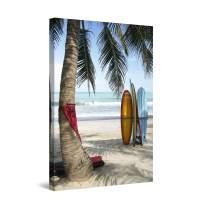 Startonight Wall Art Canvas Surf Bali, Indonesia, Beach Framed 24 x 36 Inches
