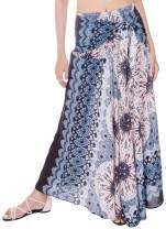 Joob Joob Women's 2 in 1 Boho Long Maxi Skirt Midi Dress Bohemian Loose Flowing Summer Travel Hippie Yogi Festival Skirt