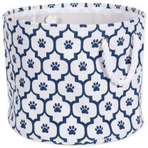 """DII Bone Dry Medium Round Pet Toy and Accessory Storage Bin, 15 x 12""""(H), Collapsible Organizer Storage Basket for Home Décor, Pet Toy, Blankets, Leashes and Food-Navy Lattice Paw Print"""