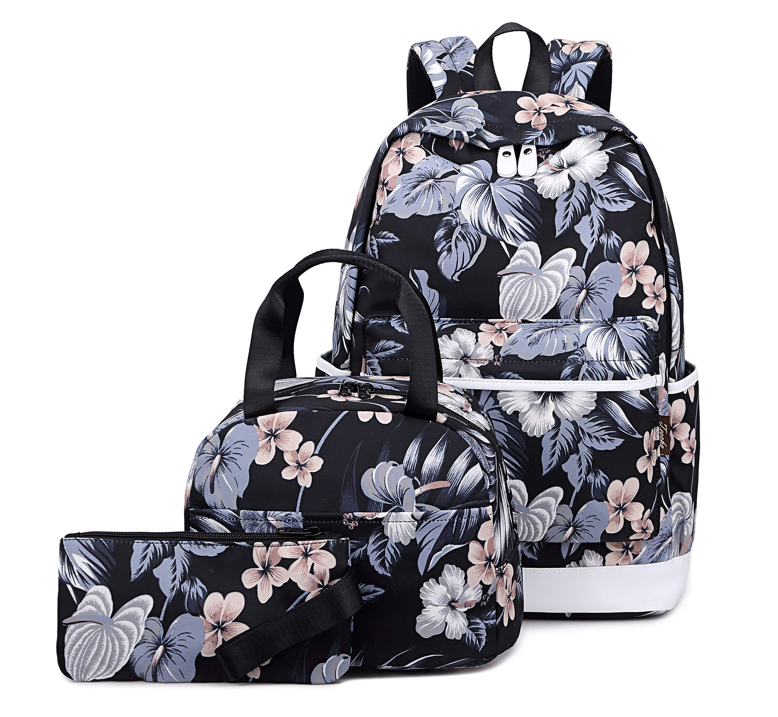 Joymoze Water Resistant Teen Girl Bookbag with Lunch Bag and Pencil Purse Black Flower