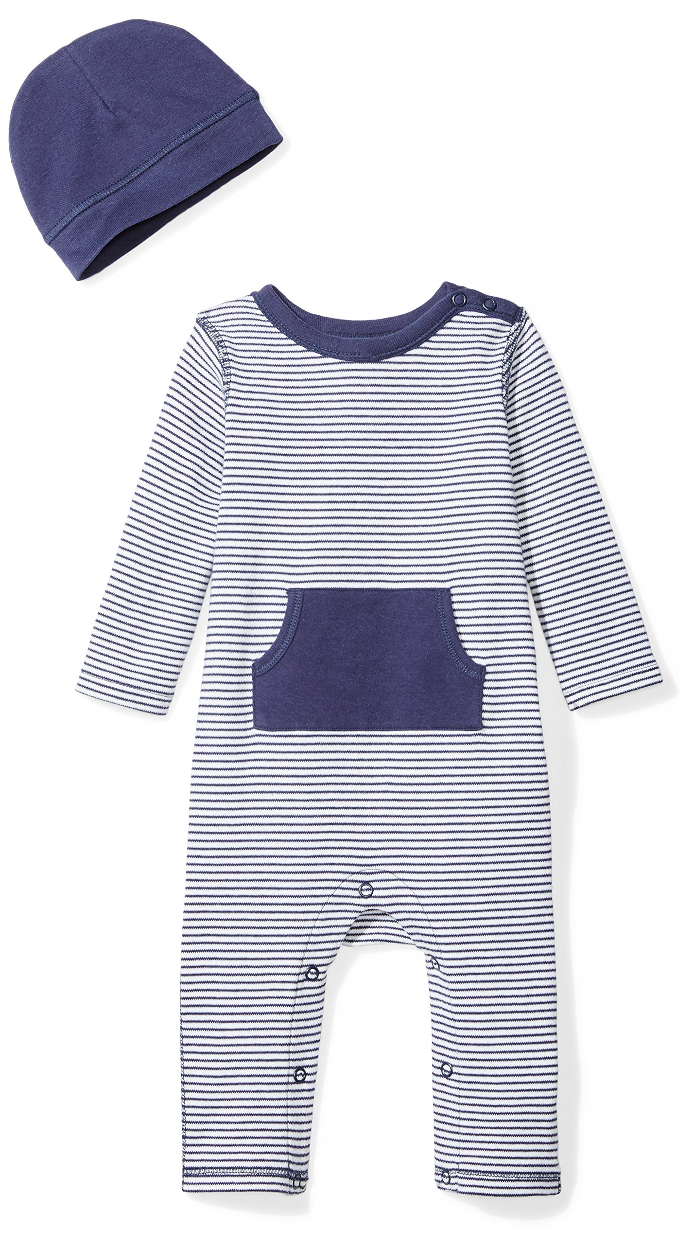 Moon and Back Baby Organic Long-Sleeve One-Piece Pocket Coverall with Cap Set