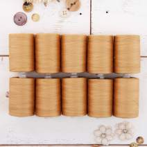 Threadart 100% Cotton Thread Set | 10 Beige Spools | 1000M (1100 Yards) Spools | For Quilting & Sewing 50/3 Weight | Long Staple & Low Lint | Over 20 Other Sets Available