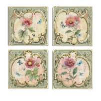 WEXFORD HOME Collection by Nan Set of 4 Gallery Wrapped Canvas Wall Art, 32x32, Classical Flower/Frameless