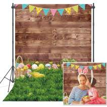 Haboke 5x7ft Durable/Soft Fabric Photo Backdrop for Easter Spring Green Grass and Wood Photograhy Background Party Decorations Supplies Studio Booth Props