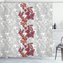 "Ambesonne Floral Shower Curtain, Romantic Boho Style Narcissus Magic Magnolia Rose Vibrant Pattern Print, Cloth Fabric Bathroom Decor Set with Hooks, 84"" Long Extra, Orange Black"