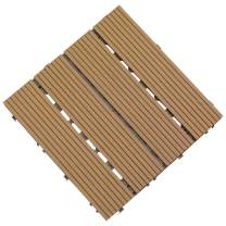 "Samincom Deck Tiles Interlocking Wood-Plastic Composites Patio Pavers, Water Resistant Flooring Tiles Indoor Outdoor, 12""× 12"", Pack of 22 (22 sq.ft) Burlywood"