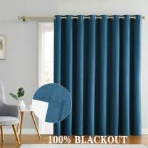 """Romantex 100% Blackout Drapes for Sliding Glass Door Waterproof Faux Linen Grommets Patio Door Curtains Extra Long and Wide for Bedroom,Peacock Blue, 100"""" W x 96"""" L,1Panel"""