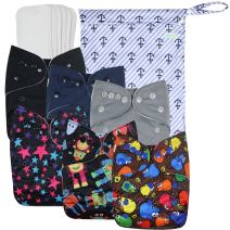 Wegreeco Washable Reusable Baby Cloth Pocket Diapers 6 Pack + 6 Bamboo Inserts (with 1 Wet Bag,Boy Prints)
