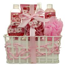 Bath and Body - Spa Gift Baskets for Women & Girls, Cherry Fragrance, Spa Kit Birthday Gift Includes Loofah Sponge, Bath Salt, Body Lotion, Soap Rose, Body Mist, Shower Gel And Bubble Bath